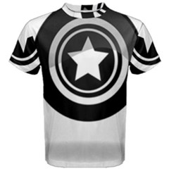 Star Black Button Men s Cotton Tee
