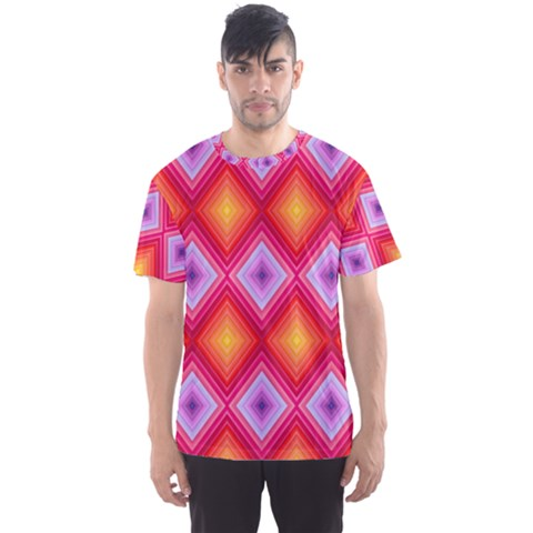 Texture Surface Orange Pink Men s Sports Mesh Tee by Mariart