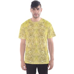 Flowers Decorative Ornate Color Yellow Men s Sports Mesh Tee