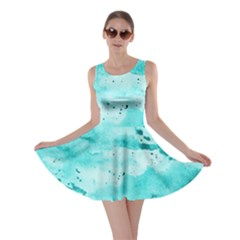 Watercolor Splatter Aqua Skater Dress by blkstudio