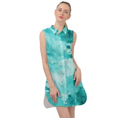 Watercolor Splatter Aqua Sleeveless Shirt Dress by blkstudio
