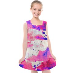 Watercolor Splatter Hot Pink/purple Kids  Cross Back Dress by blkstudio
