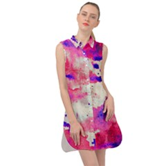 Watercolor Splatter Hot Pink/purple Sleeveless Shirt Dress by blkstudio