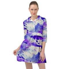 Watercolor Splatter Purple Mini Skater Shirt Dress by blkstudio