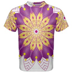 Mandala Stained Flower Drawing Men s Cotton Tee