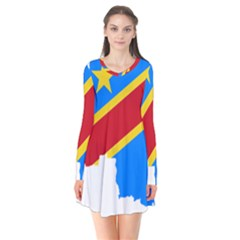 Democratic Republic Of The Congo Flag Long Sleeve V Neck Flare Dress