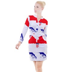 Croatia Country Europe Flag Button Long Sleeve Dress by Sapixe