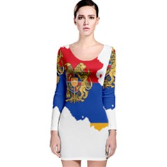 Borders Country Flag Geography Map Long Sleeve Velvet Bodycon Dress