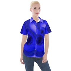 Cobalt Blue Spiral Music Note Women s Short Sleeve Pocket Shirt by CrypticFragmentsDesign