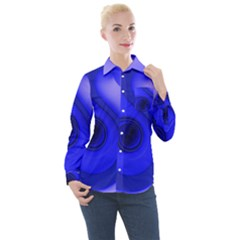 Cobalt Blue Spiral Music Note Women s Long Sleeve Pocket Shirt by CrypticFragmentsDesign