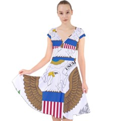 Greater Coat Of Arms Of The United States Cap Sleeve Front Wrap Midi Dress by abbeyz71