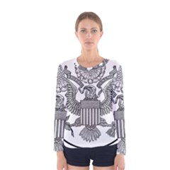 Black & White Great Seal Of The United States   Obverse  Women s Long Sleeve Tee by abbeyz71
