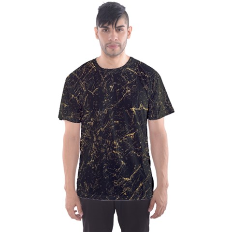 Black Marbled Surface Men s Sports Mesh Tee by Vaneshart