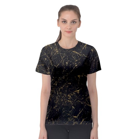 Black Marbled Surface Women s Sport Mesh Tee by Vaneshart