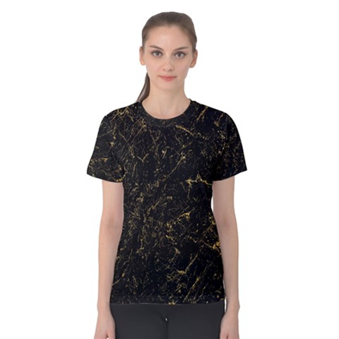 Black Marbled Surface Women s Cotton Tee by Vaneshart
