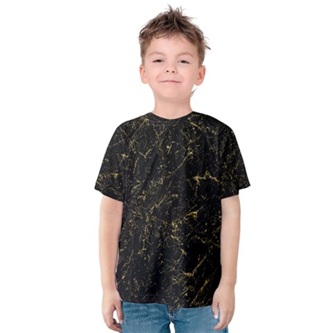 Black Marbled Surface Kids  Cotton Tee by Vaneshart