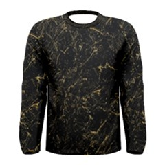 Black Marbled Surface Men s Long Sleeve Tee by Vaneshart