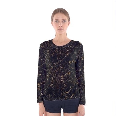 Black Marbled Surface Women s Long Sleeve Tee by Vaneshart
