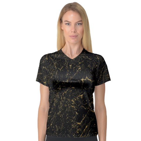 Black Marbled Surface V-neck Sport Mesh Tee by Vaneshart
