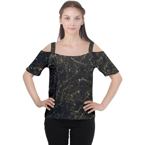 Black Marbled Surface Cutout Shoulder Tee by Vaneshart