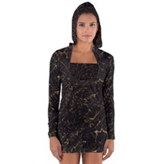 Black Marbled Surface Long Sleeve Hooded T-shirt by Vaneshart
