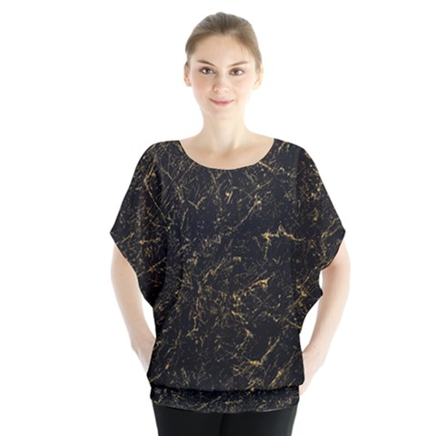 Black Marbled Surface Batwing Chiffon Blouse by Vaneshart
