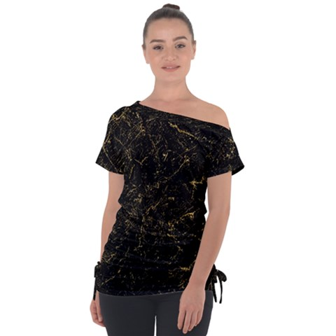Black Marbled Surface Tie-up Tee by Vaneshart
