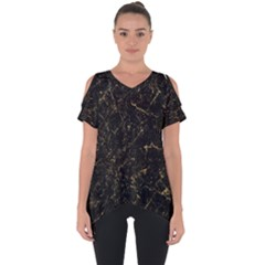 Black Marbled Surface Cut Out Side Drop Tee by Vaneshart