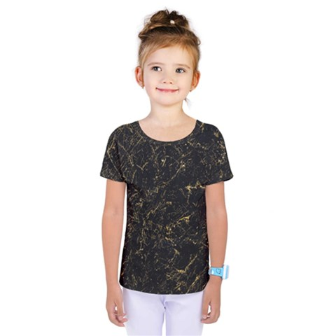 Black Marbled Surface Kids  One Piece Tee by Vaneshart