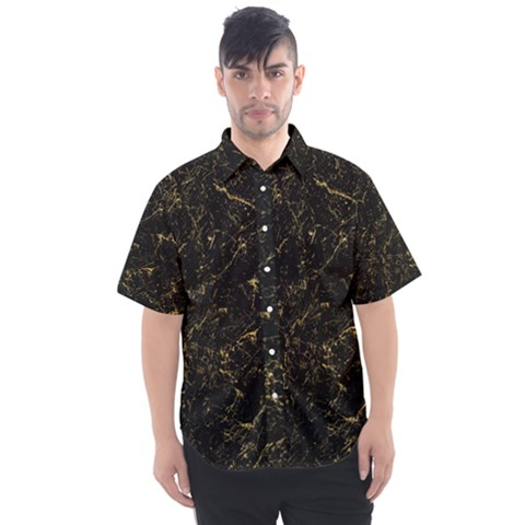 Black Marbled Surface Men s Short Sleeve Shirt by Vaneshart