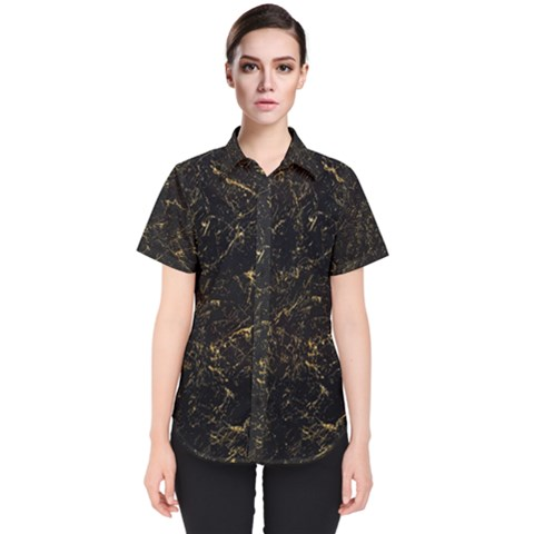 Black Marbled Surface Women s Short Sleeve Shirt by Vaneshart