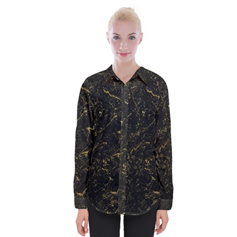 Black Marbled Surface Womens Long Sleeve Shirt by Vaneshart