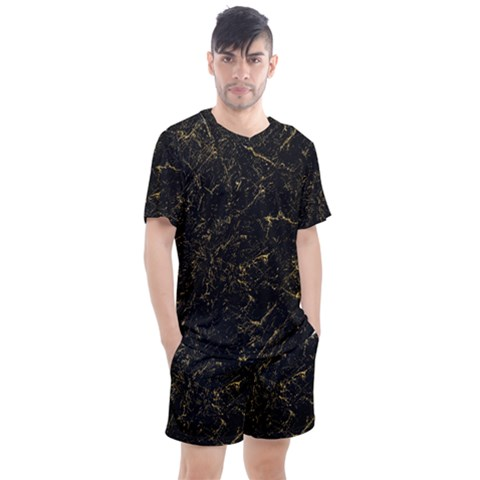 Black Marbled Surface Men s Mesh Tee And Shorts Set by Vaneshart
