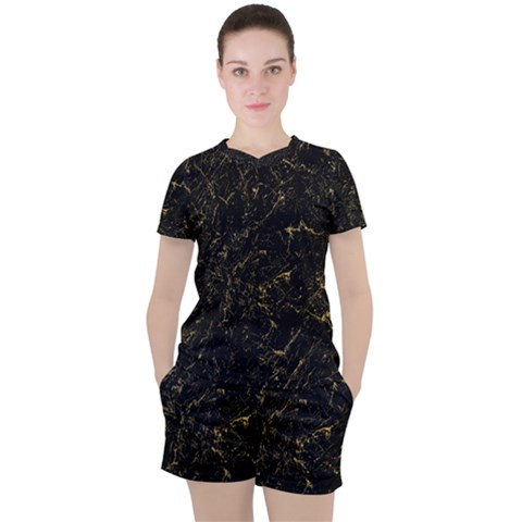 Black Marbled Surface Women s Tee And Shorts Set by Vaneshart