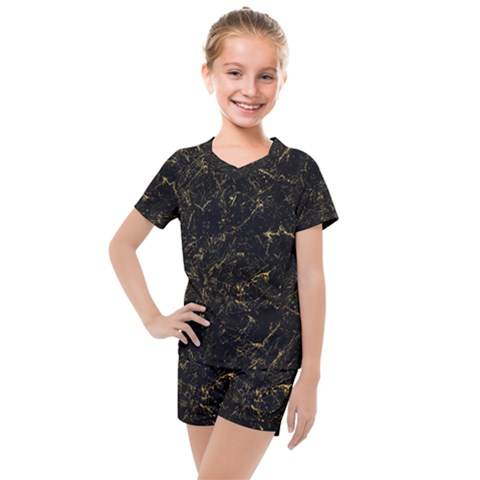 Black Marbled Surface Kids  Mesh Tee And Shorts Set by Vaneshart