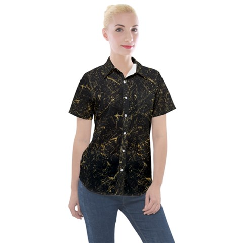 Black Marbled Surface Women s Short Sleeve Pocket Shirt by Vaneshart