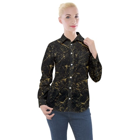 Black Marbled Surface Women s Long Sleeve Pocket Shirt by Vaneshart