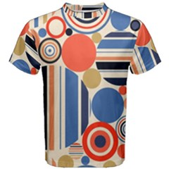 Geometric Abstract Pattern Colorful Flat Circles Decoration Men s Cotton Tee