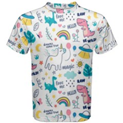 Colorful Doodle Animals Words Pattern Men s Cotton Tee