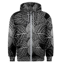 Black And White Plant Leaf Flower Pattern Line Black Monochrome Material Circle Spider Web Design Men s Zipper Hoodie by Vaneshart
