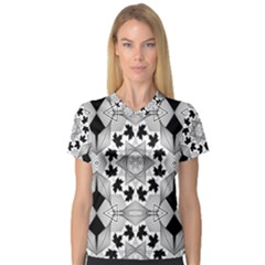 Seamless Pattern With Maple Leaves V Neck Sport Mesh Tee
