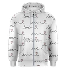 Pattern With Love Words Men s Zipper Hoodie by Vaneshart