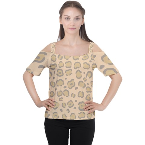 Leopard Print Cutout Shoulder Tee by Sobalvarro