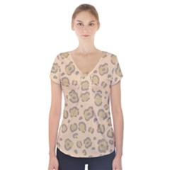 Leopard Print Short Sleeve Front Detail Top by Sobalvarro