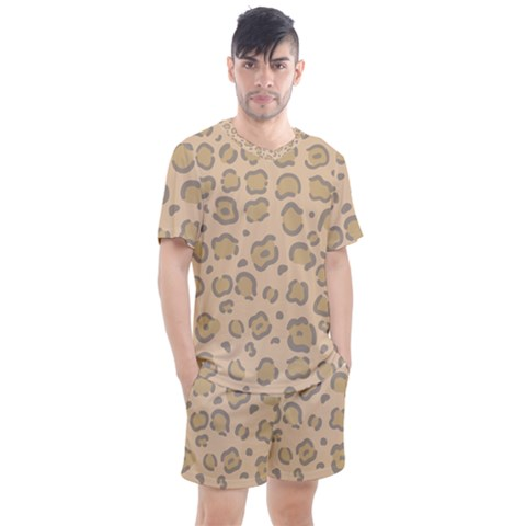 Leopard Print Men s Mesh Tee And Shorts Set by Sobalvarro