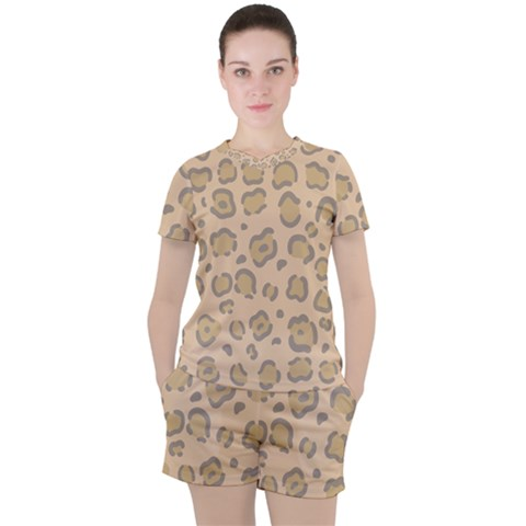 Leopard Print Women s Tee And Shorts Set by Sobalvarro