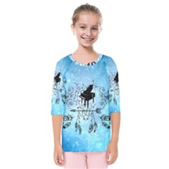 Piano With Feathers, Clef And Key Notes Kids  Quarter Sleeve Raglan Tee by FantasyWorld7
