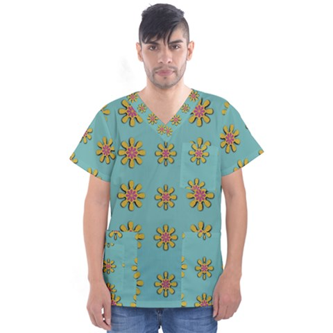 Fantasy Fauna Floral In Sweet Green Men s V-neck Scrub Top by pepitasart