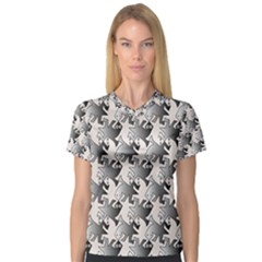 Seamless Tessellation Background V-neck Sport Mesh Tee
