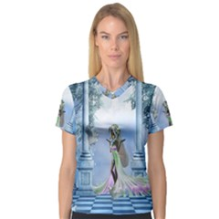 Cute Fairy With Dove V Neck Sport Mesh Tee